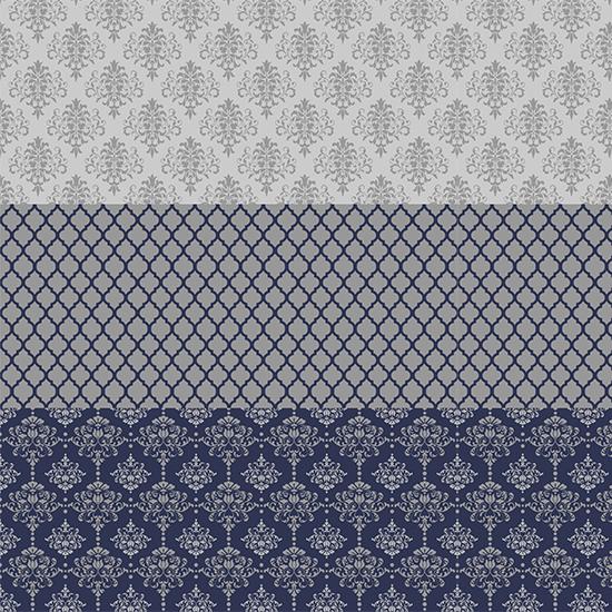 Хлопок Перкаль - Бордюр Винтаж сине-серый ажур 25х75 см.