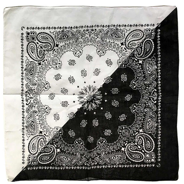Бандана Огурцы (Paisley) черно-белая