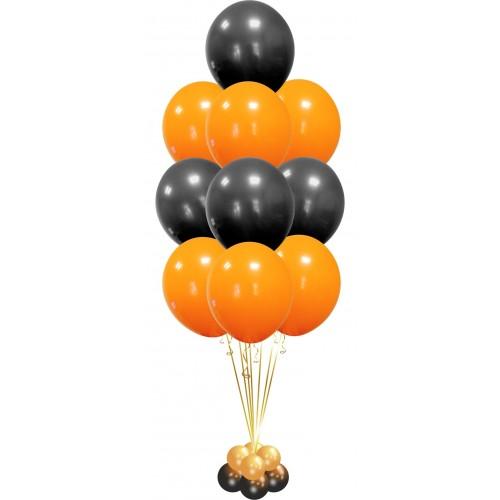 Фонтан из 10 гелиевых шаров , оранжевый и чёрный