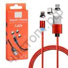Кабель USB - (microUSB/Type-С/Iph) 2А MС-04 I красный 3в1 магнитный в карт. коробке (1м)