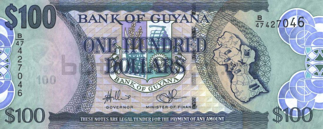 100 долларов 2012 Гайана