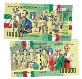 100 000 lire (лиры) — Сборная Италия чемпион ЕВРО 2020. Италия. (Italy). Памятная банкнота. UNC