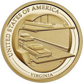 Мост-тоннель  через Чесапикский залив. Вирджиния.1 доллар США  2021 Инновации Монетный двор на выбор