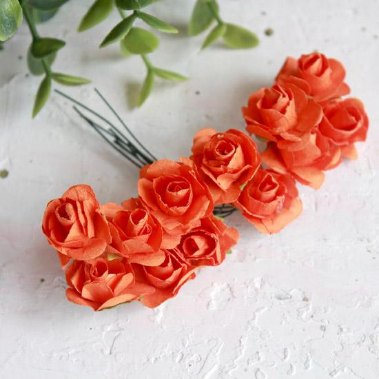 Бумажные цветы Оранжевые - Кукольная миниатюра