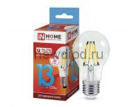 Лампа светодиодная LED-A60-deco 13Вт 230В Е27 4000К 1170Лм прозрачная IN HOME