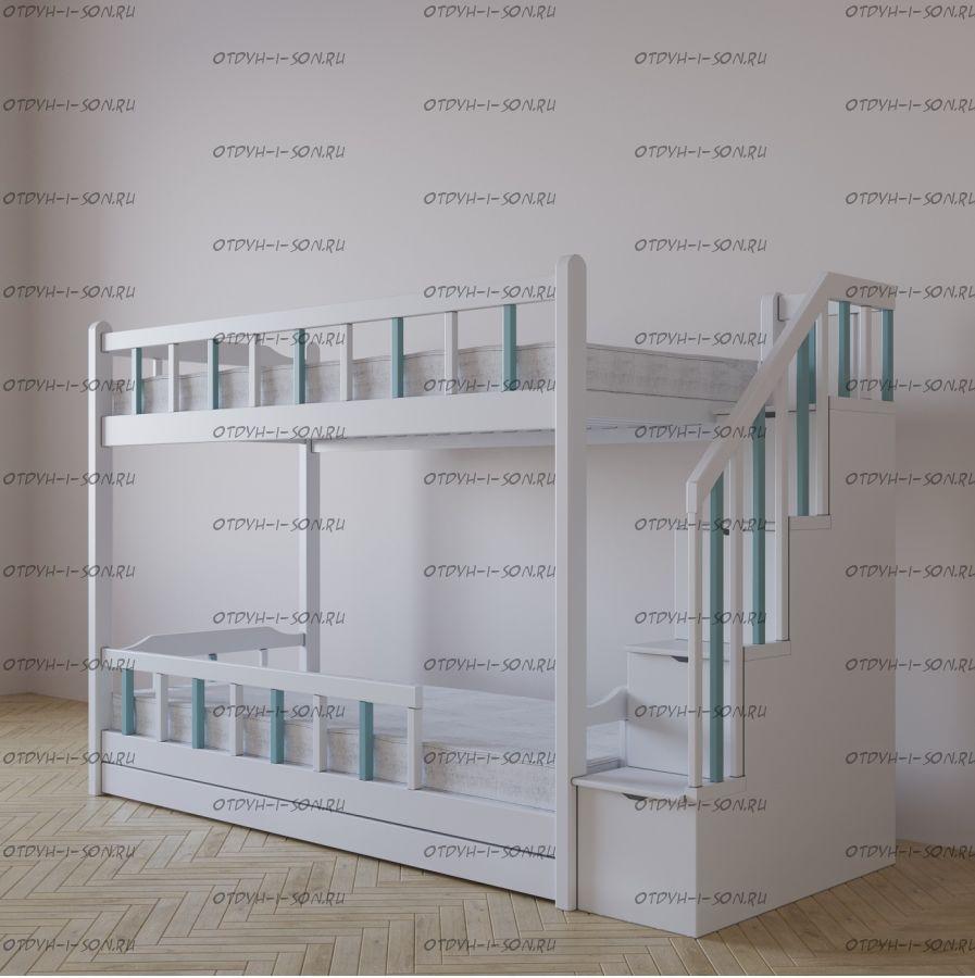 Кровать двухъярусная Алсу с лестницей