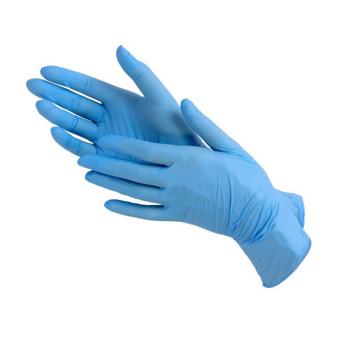 ПЕРЧАТКИ нитриловые неопудренные, 50 пар, размер М голубые