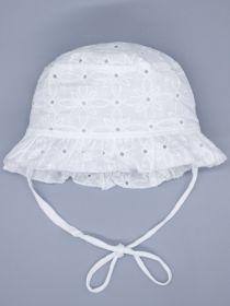 00-0026656 Панама для девочки на завязках, цветочный узор, молочный