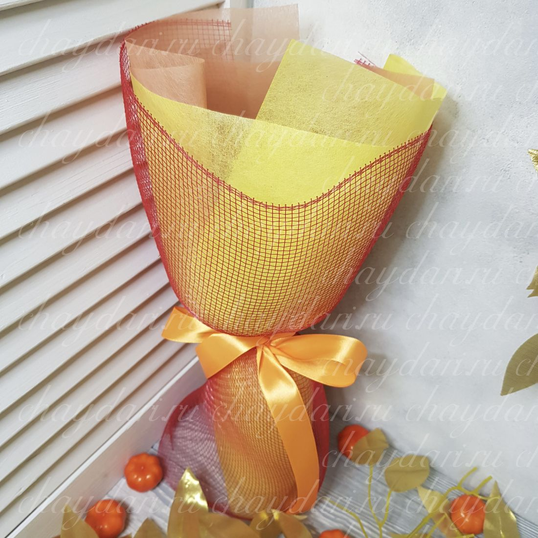 Букет из чая, кофе и нуги «Краски осени»