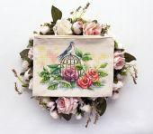 """""""Ласточка и розы"""". Схема для вышивания крестиком."""