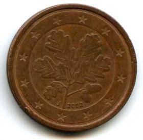 Германия 2 евроцента 2002 J