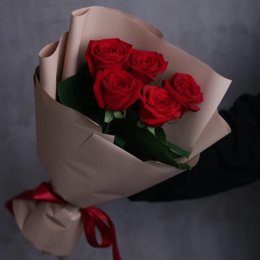Красные розы 5 шт
