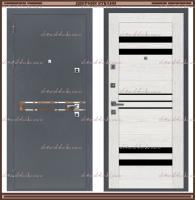 Входная дверь Горизонталь Серый букле / Тангент вуд платина 100 мм Россия