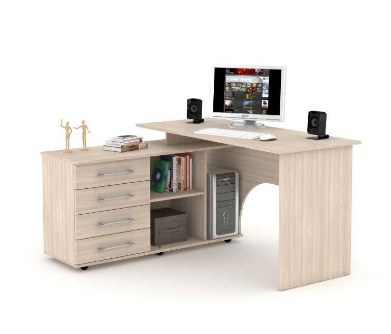Компьютерный стол угловой Мебель-Комплекс СКУ-15 Шимо Ясень Светлый