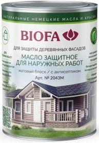 Масло Защитное Biofa 2043М 0.375л Матовый для Наружных Работ с Антисептиком / Биофа 2043М