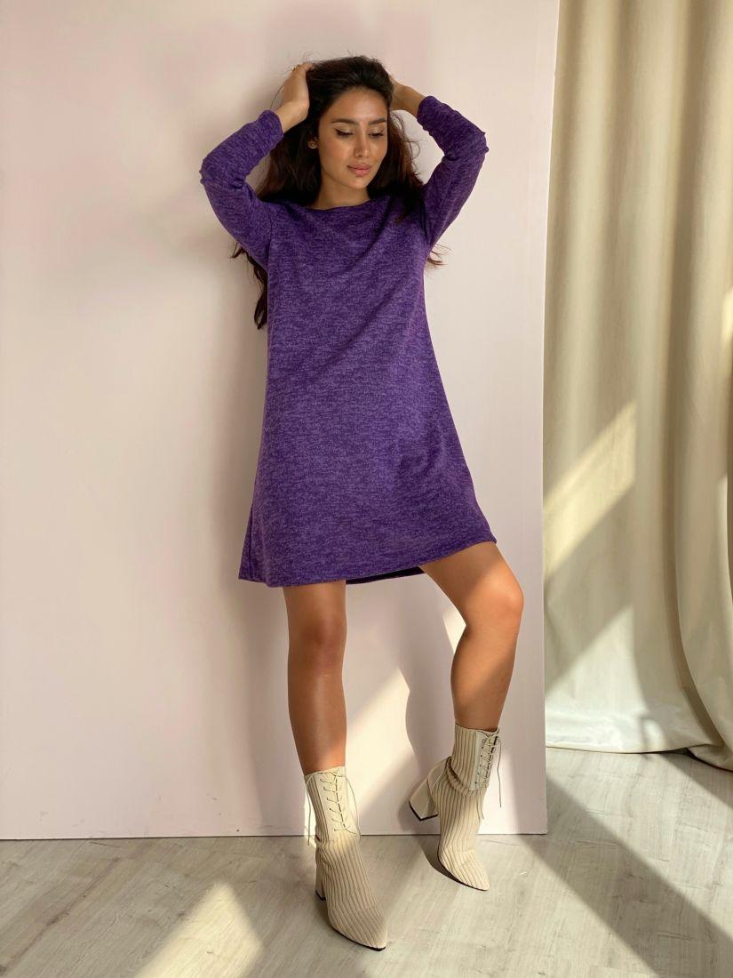 3476 Платье-трапеция из мягкого трикотажа фиолетовое
