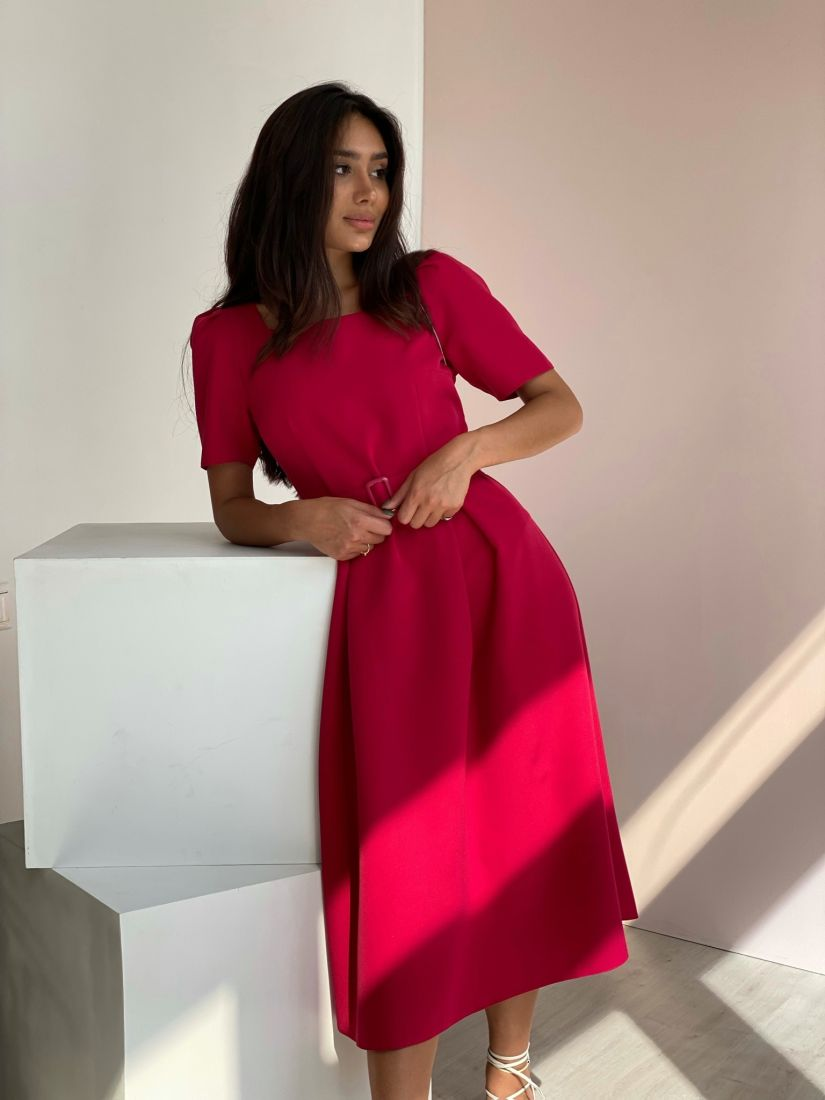 3689 Платье в ретро-стиле в насыщенном ягодном цвете