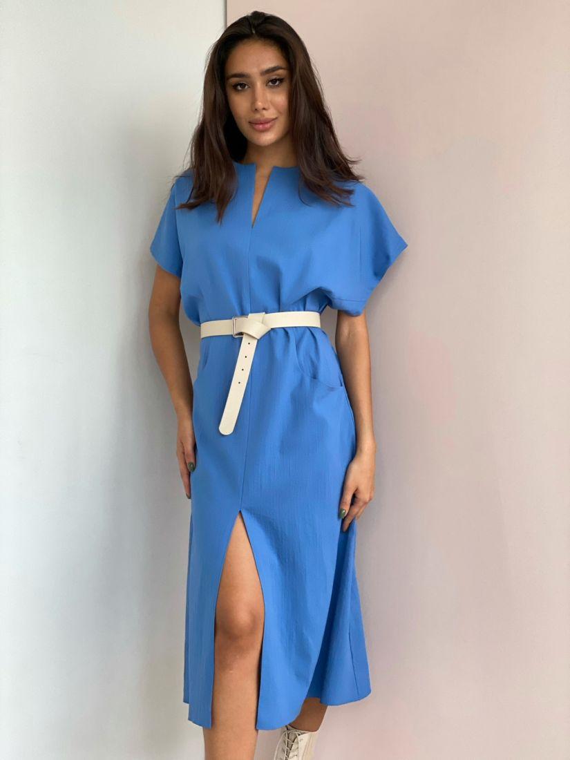 4451 Платье из полульна васильковое