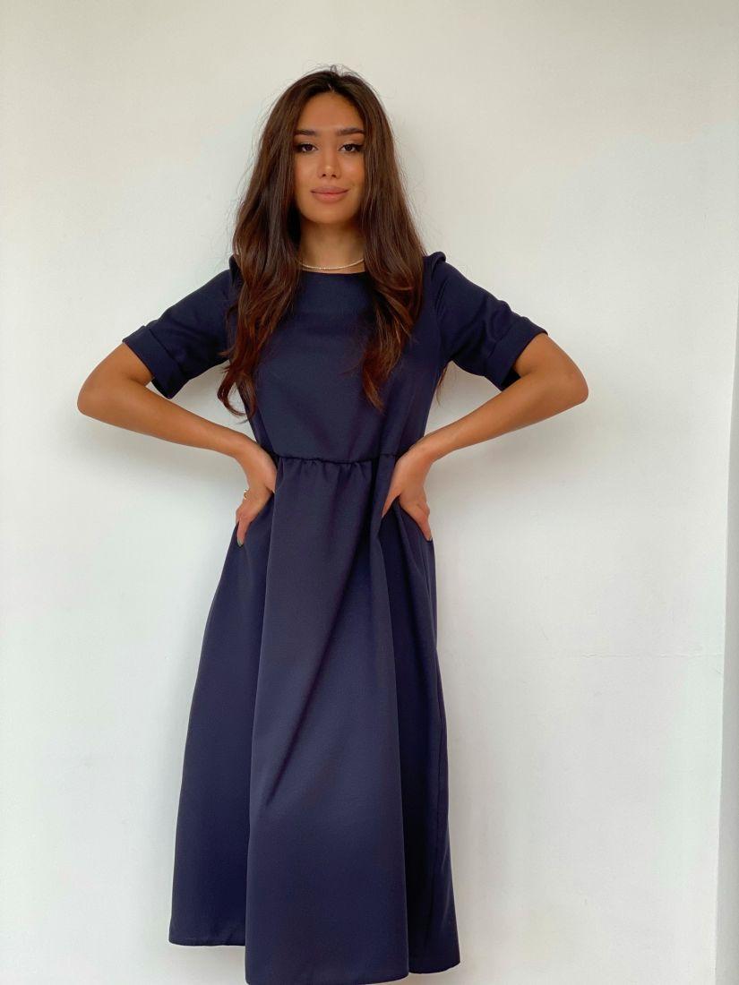 4452 Платье-миди базовое чернильное