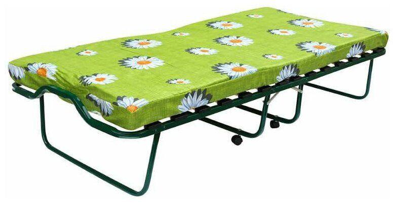 Кровать-тумба ЛетоЛюкс Вена Зеленая с колёсами