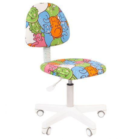 Кресло детское Chairman Kids 104, PL белый, ткань велюр, мех.постоянной под.спины, без подл