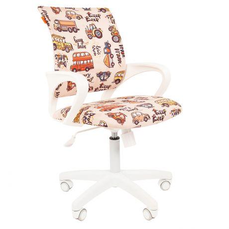 Кресло детское Chairman Kids 103, PL белый, ткань велюр, автобусы, механизм качания спинки