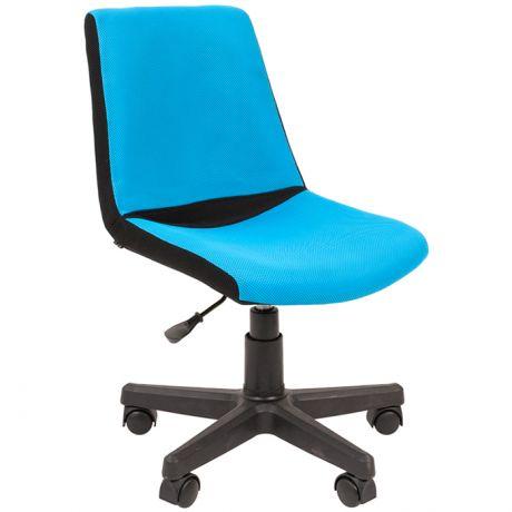 Кресло детское Chairman Kids 115, PL черный, ткань TW черная/голубая, регулир. по высоте