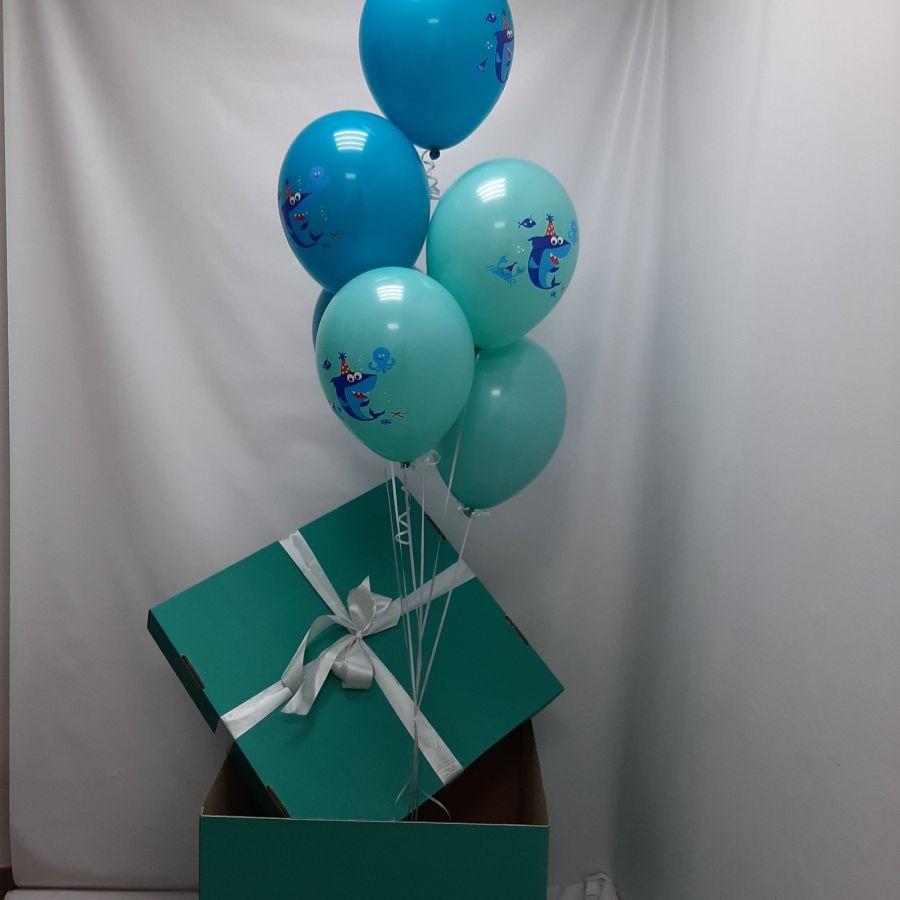 Коробка сюрприз бирюзовая с шариками акулы