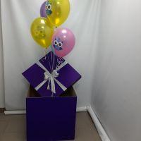 Коробка сюрприз фиолетовая с шарами СОВУШКИ