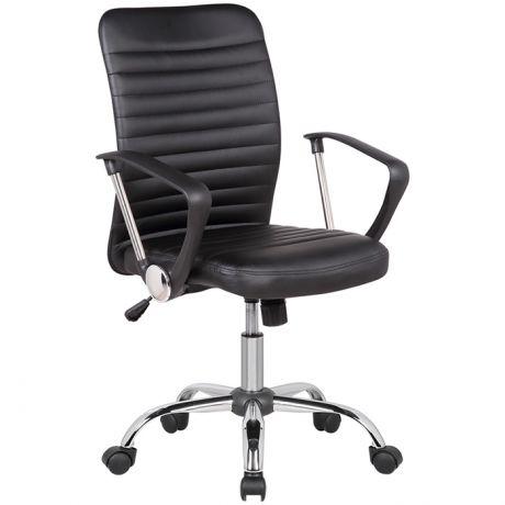Кресло оператора Helmi HL-M09 LUX, искусственная кожа черная, механизм качания, хром