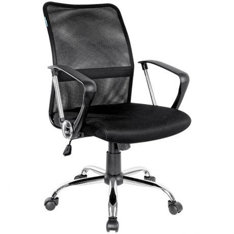 Кресло оператора Helmi HL-M09, ткань/сетка черная, механизм качания, хром