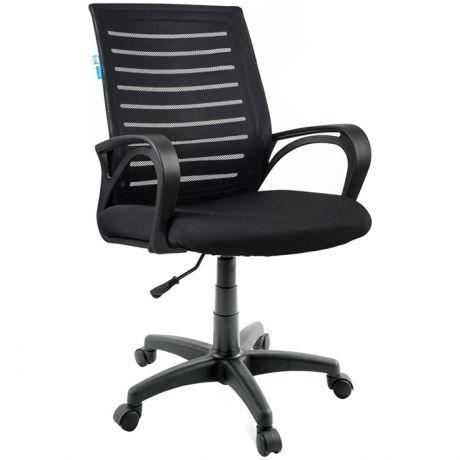 """Кресло оператора Helmi HL-M16 R """"Vivid"""", спинка ткань-сетка черная/сиденье ткань черная"""