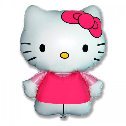 """Шар фольгированный 26"""" фигура """"Hello Kitty. Котенок с бантиком"""" розовый,"""