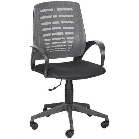 """Кресло оператора Olss """"Ирис"""", спинка сетка серая, сиденье ткань TW черная, опора-пиастра"""