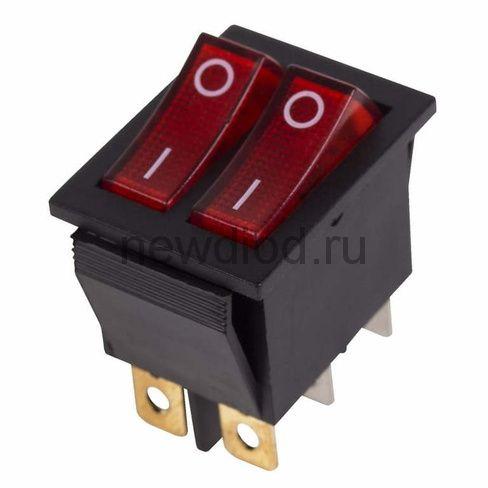 Выключатель клавишный 250V 15А (6с) ON-OFF красный  с подсветкой  ДВОЙНОЙ  (RWB-511, SC-797)  REXANT