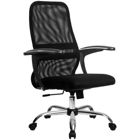 Кресло оператора Метта SU-СM-8, CH, ткань-сетка черная №20, низкая спинка-сетка, топ-ган