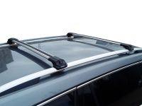 Багажник на крышу Skoda Kodiaq, аэродинамические дуги на рейлинги (серебристый цвет)