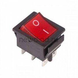 Выключатель клавишный 250V 15А (6с) ON-ON красный  с подсветкой (RWB-506, SC-767)  REXANT