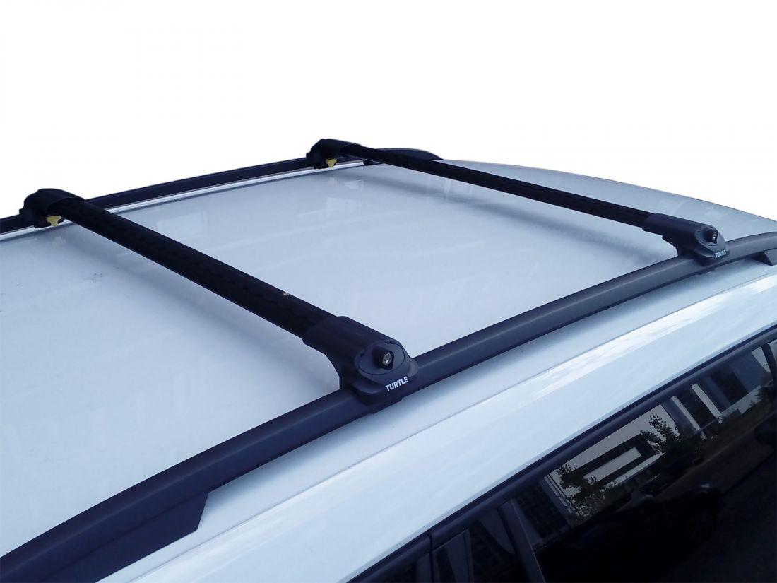 Багажник на крышу Skoda Kodiaq, аэродинамические дуги на рейлинги (черный цвет)