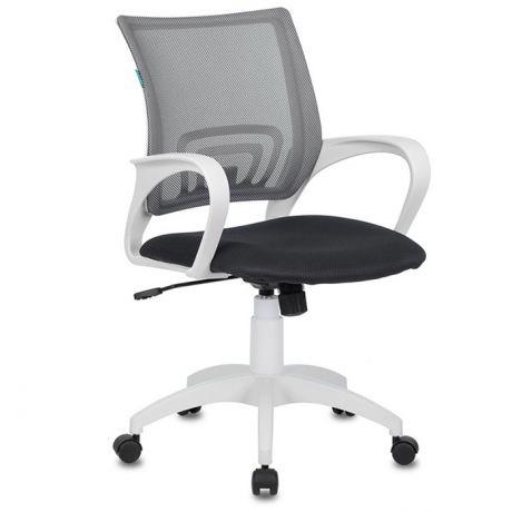 Кресло оператора Бюрократ CH-W695N/DG/TW-12, PL белый, спинка сетка серая TW-12, сиденье ткань т.серая TW-04, механизм качания (до 150кг)