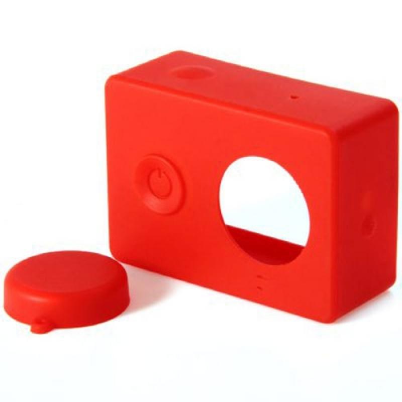 Силиконовый чехол и крышка на объектив Xiaomi Yi( Силикон / Красный )