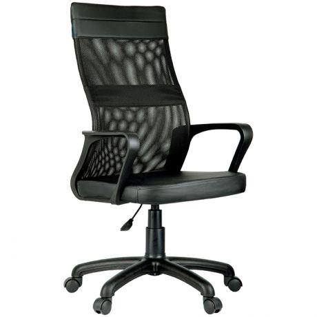 """Кресло оператора Helmi HL-M65 """"Sigma"""", экокожа/ткань сетка, черная, пиастра"""