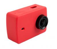 Защитный кейс + крышка на объектив для  Xiaomi Yi 2 4K XRS-XM56 ( Силикон / Красный)