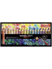 Карандаши цв.18цв.Stabilo WOODY 3 в1 утолщенный+ акварель+ восковой мелок 880/18