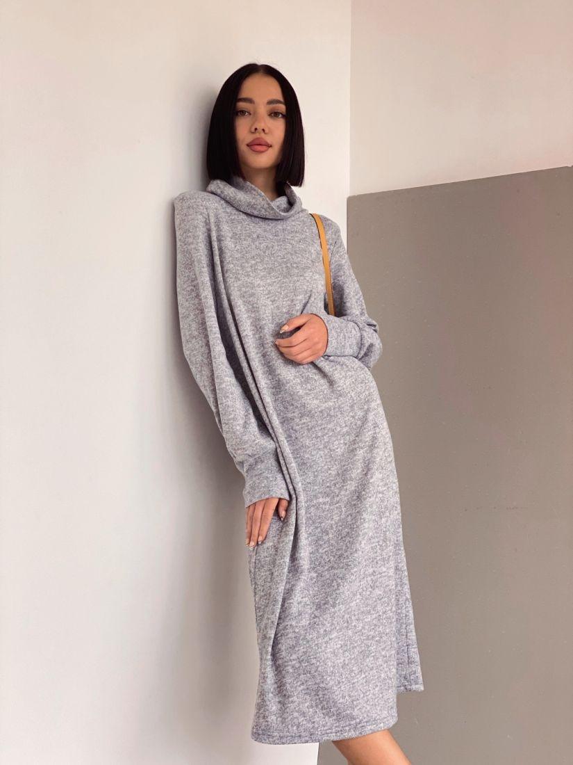 3506 Платье с объёмными рукавами в холодном сером