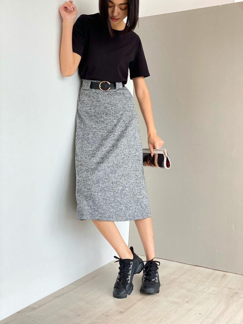 3473 Базовая тёплая юбка с широкими шлёвками в цвете wet asphalt
