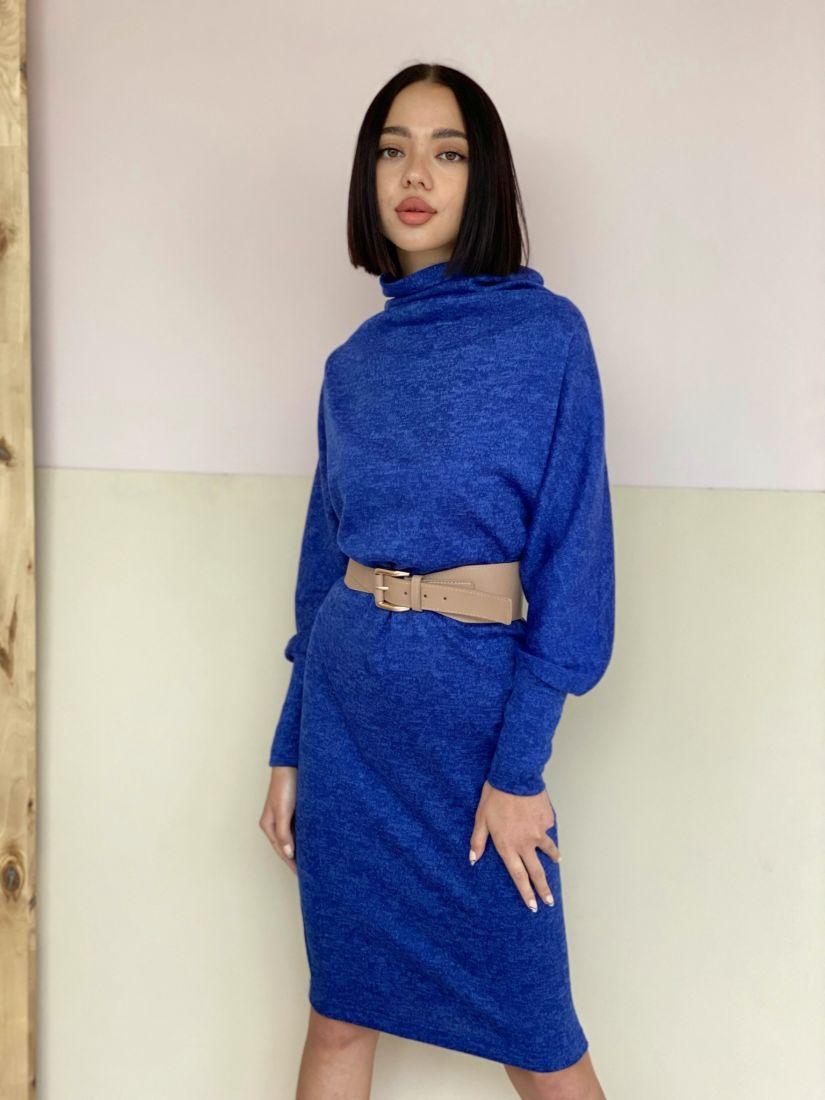 """2989 Платье трикотажное в стиле """"оверсайз"""" синее"""