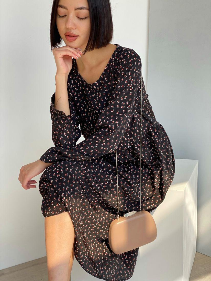 3601 Платье с флористичным принтом чёрное