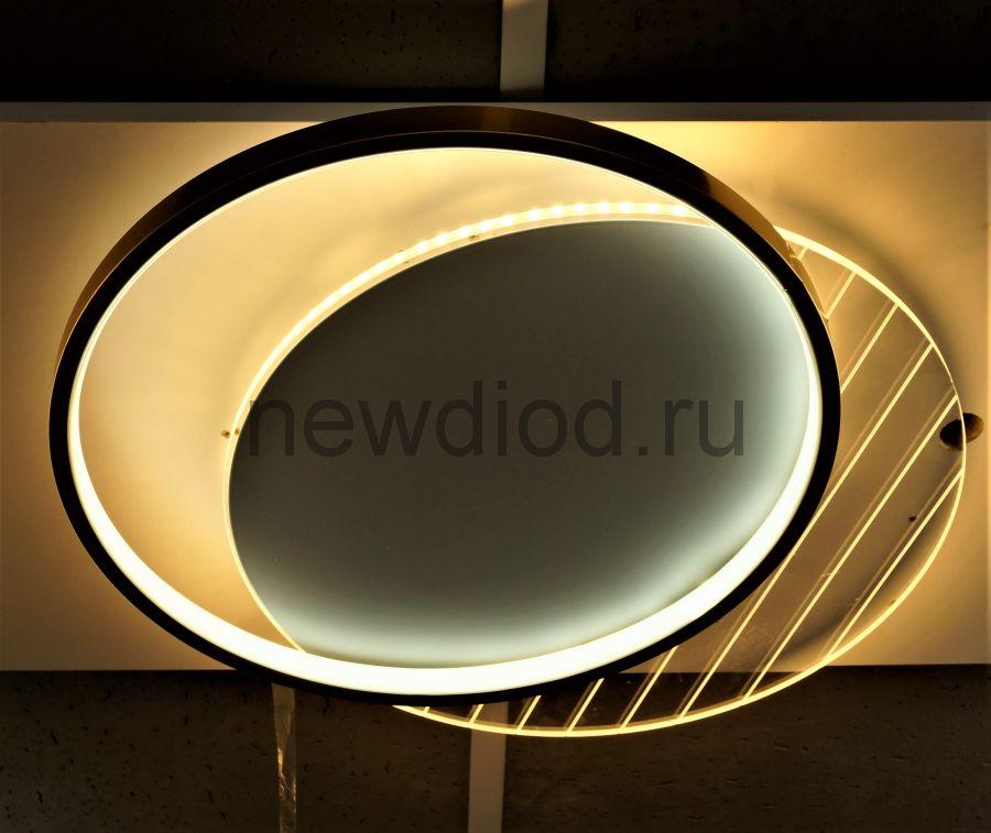 Управляемый светодиодный светильник GEOMETRIA Y9255-1 90Вт-23м² 500мм 6/3/4000K пульт Oreol