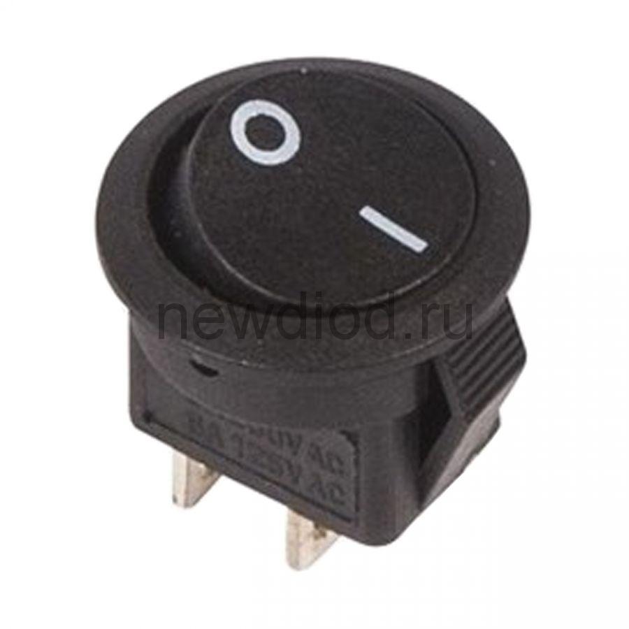 Выключатель клавишный круглый 250V 3А (2с) ON-OFF черный  Micro  (RWB-105, SC-214)  REXANT